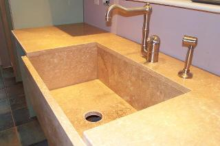 Limestone countertop with sink
